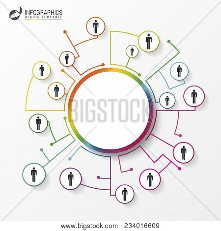 People Connected As Network In Circles. Infographics. Vector Illustration