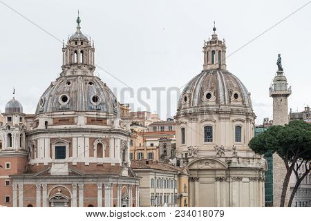 Horizontal Picture Of The View From Victor Emanuele Monument In Rome Italy