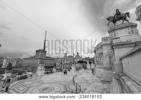 Rome, Italy, March 07, 2018: Black And White Picture Of The Great Victor Emanuele Monument In Rome I