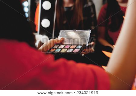 Makeup. The Process Of Applying Makeup Will Begin. Colorful Palette. Cosmetics For Festive Evening D