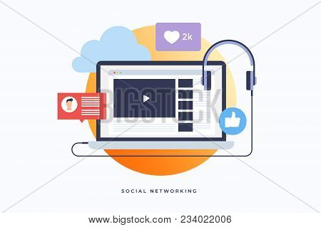Social Media Theme. Video Hosting, Audio And Video Files. Colorful Icon For Infographics, Presentati