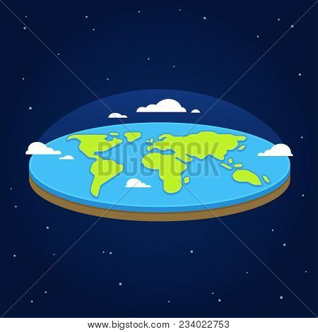 Flat Earth In Space. Ancient Cosmology Model And Modern Pseudoscientific Conspiracy Theory. Stylized