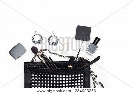 Female Cosmetics And Accessories In Black And White On A White Background. Copy Space
