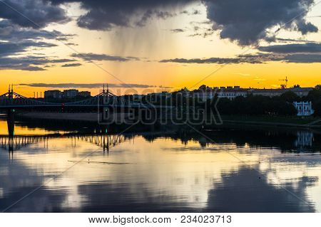 Boundless Expanse. Mesmerizing Blazing Sunset Over The Mirror Glossy Surface Of The Volga River, Ref