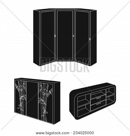 Bedroom Furniture Black Icons In Set Collection For Design. Modern Wooden Furniture Isometric Vector