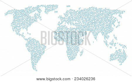 Continental Mosaic Map Constructed Of Crutch Design Elements. Vector Crutch Scattered Flat Elements