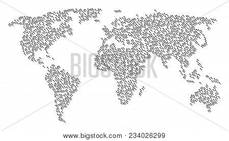 Continent Concept Map Designed Of Cultivator Rake Icons. Vector Cultivator Rake Scattered Flat Picto
