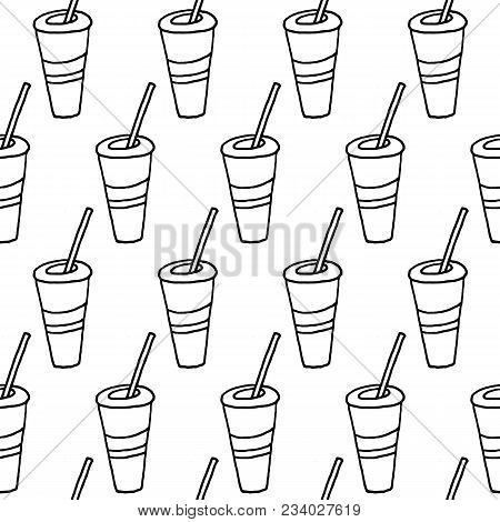 Cute Cartoon Drink Pattern With Hand Drawn Drink. Sweet Vector Black And White Drink Pattern. Seamle