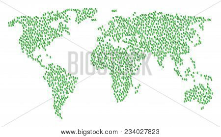 Worldwide Mosaic Map Organized Of Dollar Design Elements. Vector Dollar Scattered Flat Elements Are