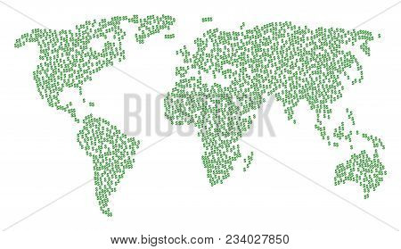 Continental Pattern Map Made Of Dollar Items. Vector Dollar Scattered Flat Design Elements Are Unite