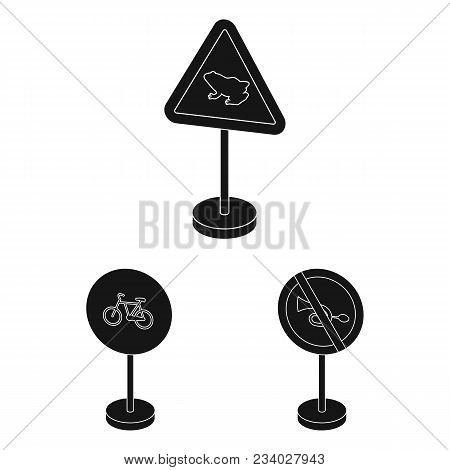 Different Types Of Road Signs Black Icons In Set Collection For Design. Warning And Prohibition Sign