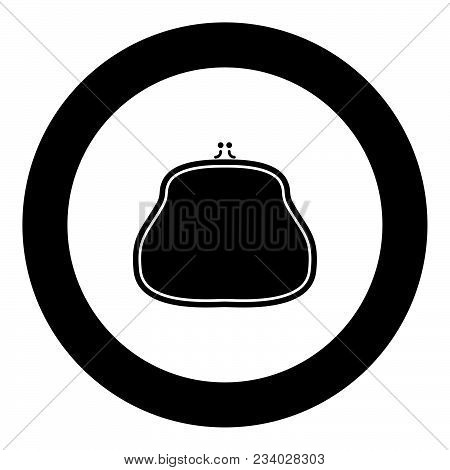 Purse Icon Black Color In Circle Vector Illustration Isolated