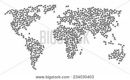 Continent Concept Map Combined Of Find Binoculars Design Elements. Vector Find Binoculars Scattered