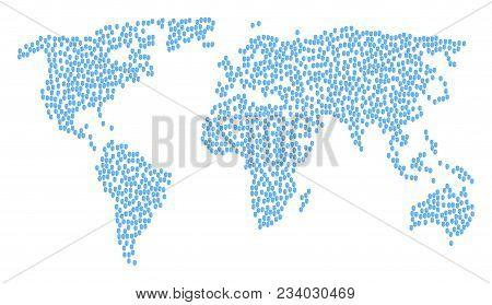 International Collage Map Composed Of Fingerprint Pictograms. Vector Fingerprint Scatter Flat Elemen