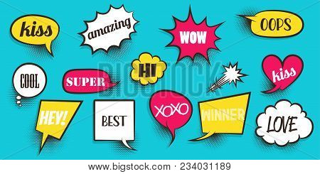 Wow Love Xoxo Bang Boom Win Hey Comic Announced Collection Colored Sound Effects Pop Art Style. Set