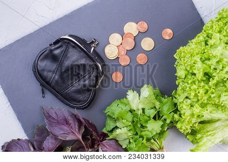 Fresh Vegetables, Purse And Coins. Lettuce, Parsley, Basil And Wallet With Coins On Slate. Tips For