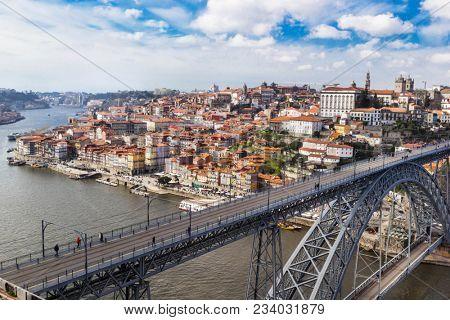 Aerial v iew of the historic city of Porto, Dom Luiz bridge. Porto, Portugal