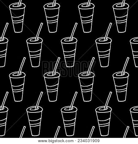 Cute Cartoon Drink Background With Hand Drawn Drink. Sweet Vector Black And White Drink Background.