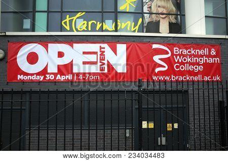 Bracknell, England - April 01, 2018: Banner For An Open Event At Bracknell & Wokingham College In En