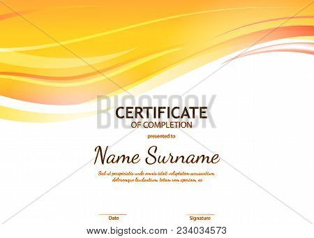 Certificate Of Completion Template With Orange Dynamic Wavy Light Background. Vector Illustration