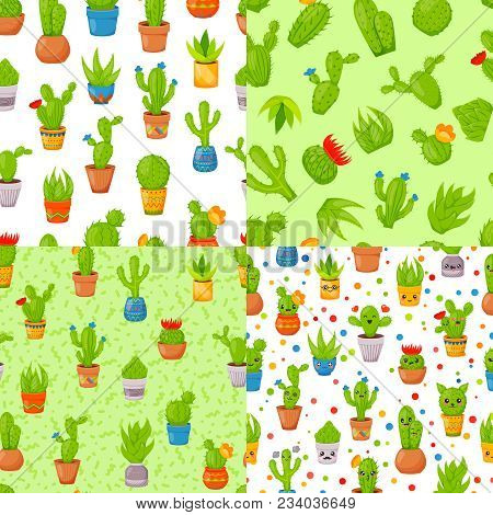 Set Of Four Seamless Patterns With Cactuses And Succulents. Cute Cartoon Cactus Collection. Cactuses