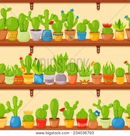 Seamless Pattern With Cactuses And Succulents In Plants Pots On Shelves. Cute Cartoon Cactus Collect