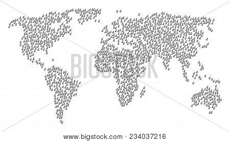 Global Geography Pattern Map Made Of Microscope Items. Vector Microscope Scattered Flat Design Eleme