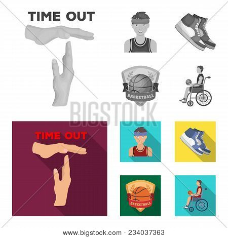 Basketball And Attributes Monochrome, Flat Icons In Set Collection For Design.basketball Player And