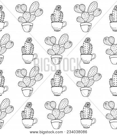 Vector Cactus Flower Background. Seamless Pattern With Cactus In Pot. Hand Drawn Cactus Coloring Pag