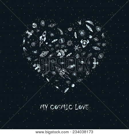 Vector invitation vector photo free trial bigstock vector invitation card with space object in heart shape magic heart from rocket galaxy stopboris Image collections