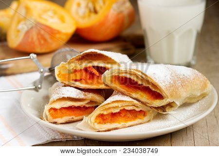 Traditional Romanian Or Moldovan Pumpkin Strudel Vertuta Served With Milk. Rustic Style, Selective F