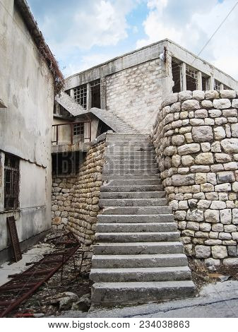 Concrete Stairs Leading To The Upper Roof Of The Warehouse Of Prison On Naked Island