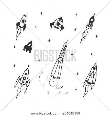 Vector Set Of Hand Drawn Doodle Rocket Icon And Rocket Silhouette. Icon Design Rocket, Spaceships, R