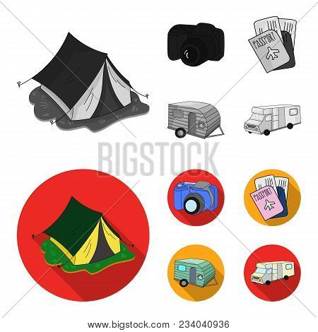 Vacation, Photo, Camera, Passport .family Holiday Set Collection Icons In Monochrome, Flat Style Vec