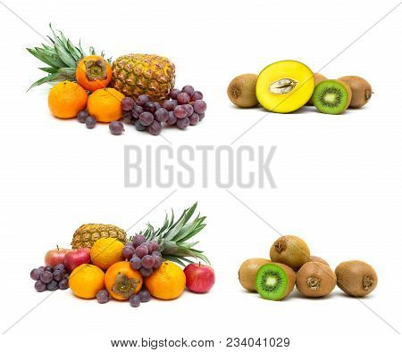 Fresh Juicy Fruit On A White Background. Horizontal Photo.
