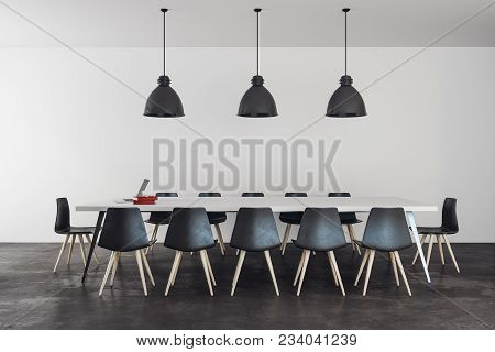Contemporary Boardroom Interior With Furniture And Lamps. 3d Rendering