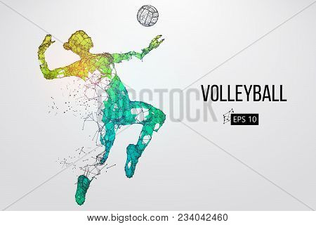 Silhouette Of Volleyball Player. Background And Text On A Separate Layer, Color Can Be Changed In On