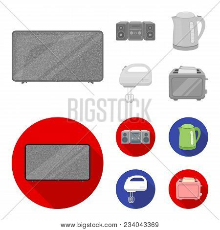 Electric Kettle, Music Center, Mixer, Toaster.household Set Collection Icons In Monochrome, Flat Sty