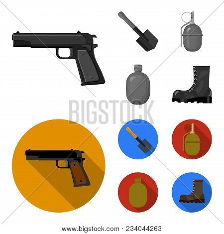 Sapper Blade, Hand Grenade, Army Flask, Soldier Boot. Military And Army Set Collection Icons In Mono