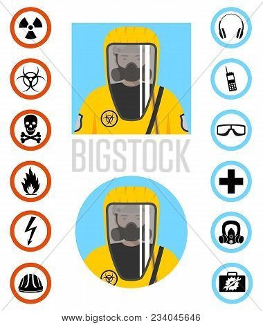 Man In Protective Suit In Flat Style. Dangerous Profession. Occupational Safety And Health Vector Ic