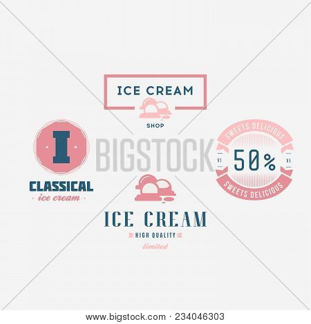 Set Of Ice-cream Shop Labels, Logotypes And Design Elements. Vintage Collection Of Different Ice Cre
