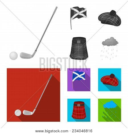 Flag, Kilt, Rainy Weather, Cap.scotland Country Set Collection Icons In Monochrome, Flat Style Vecto