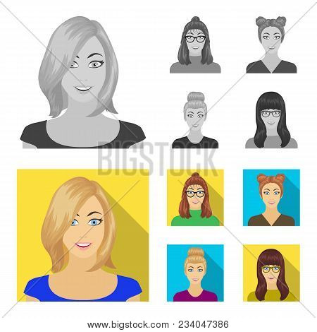 The Face Of A Girl With Glasses, A Woman With A Hairdo. Face And Appearance Set Collection Icons In