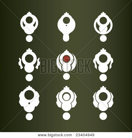 Set Of Nine Vector Icons (revolver).