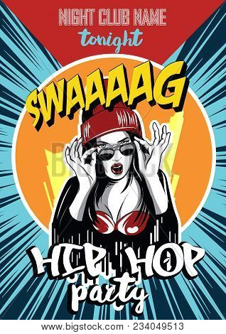 Hip Hop Night Club Poster. Pretty Young Urban Rap Girl