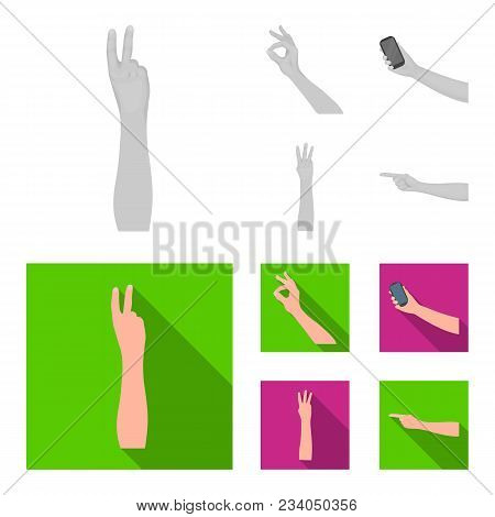 Sign Language Monochrome, Flat Icons In Set Collection For Design.emotional Part Of Communication Ve