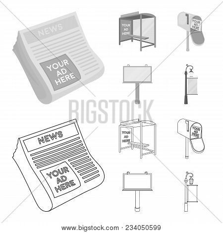 Newspapers, A Bus Stop, A Mail Box, A Billboard.advertising, Set Collection Icons In Outline, Monoch