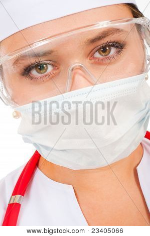 Face Of A Young Doctor In A Protective Mask