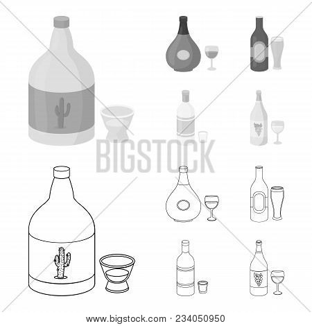 Tequila, Cognac, Beer, Vodka.alcohol Set Collection Icons In Outline, Monochrome Style Vector Symbol