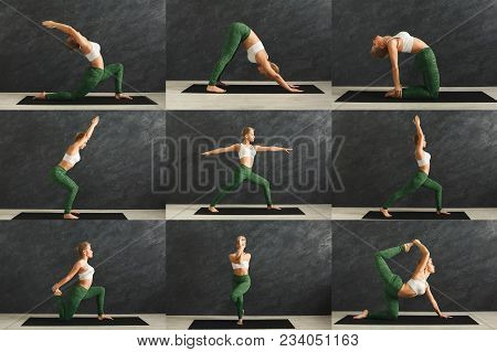 Mosaic Of Different Fitness Exercises. Sporty Blonde Woman Practicing Yoga In Various Poses At Gym.